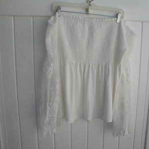 Lace Smocked Off Shoulder White XXL